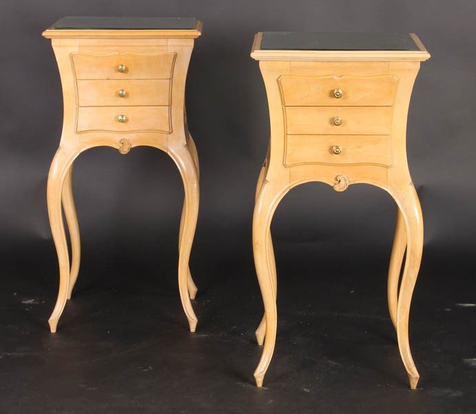 11: PAIR STYLISH FRENCH END TABLES INSET MIRROR TOP
