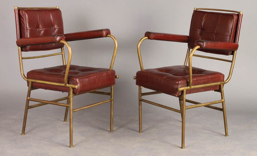 14: PAIR BELGIUM MODERN BRONZE ARM CHAIRS LEATHER