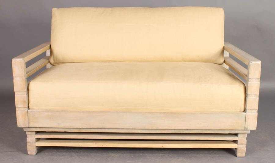16: MODERN LOVE SEAT OPENWORK ARMS LOOSE CUSHIONS