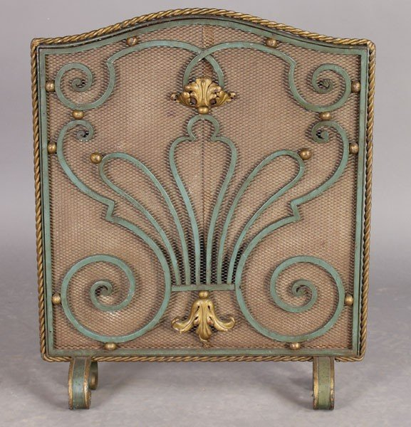 17: FRENCH POILLERAT STYLE WROUGHT IRON FIRE SCREEN