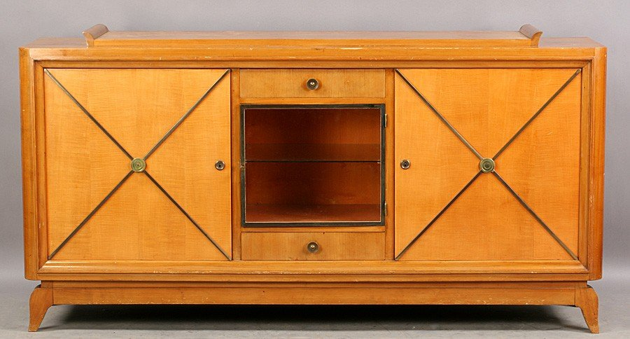 19: FRENCH ANDRE ARBUS FIGURED MAPLE SIDEBOARD