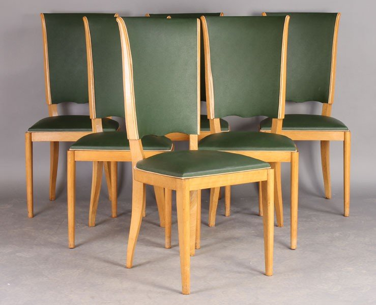 20: SET 6 FRENCH ARBUS STYLE TALL BACK DINING CHAIRS