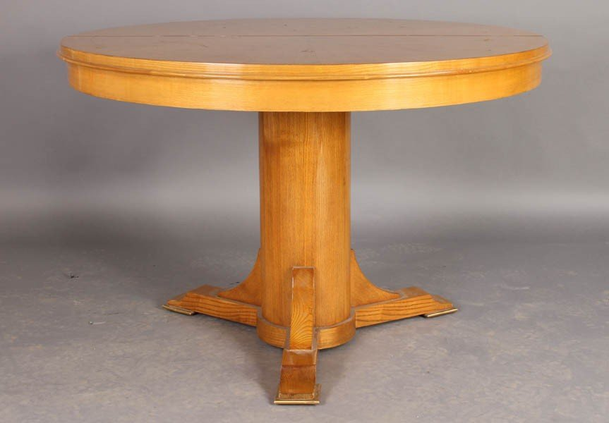 21: FRENCH 1940S INLAID BANDED ROUND DINING TABLE