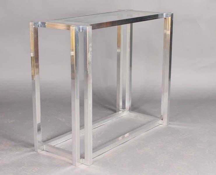 23: ALUMINUM GLASS SOFA TABLE 4 RECTANGLES