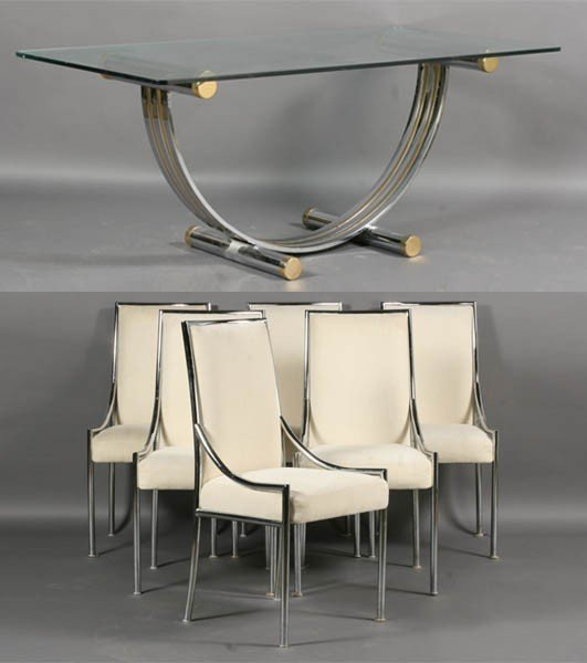 62: MODERN CHROME DINING SET 6 CHAIRS GLASS TABLE