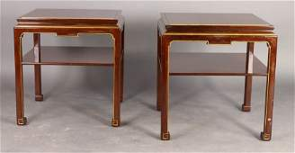 103 PAIR LABELED SCHMEIG  KOTZIAN SIDE TABLES ASIAN