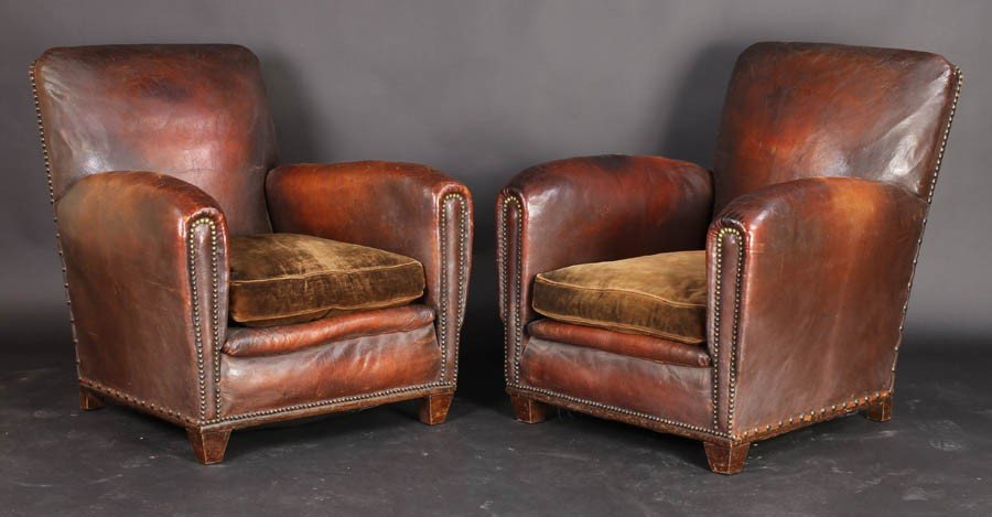 108: PAIR VINTAGE FRENCH LEATHER CLUB CHAIRS