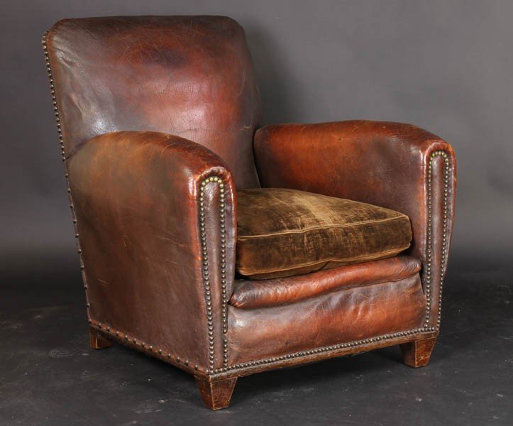 108: PAIR VINTAGE FRENCH LEATHER CLUB CHAIRS - 2