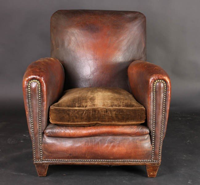 108: PAIR VINTAGE FRENCH LEATHER CLUB CHAIRS - 3
