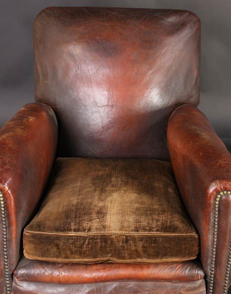 108: PAIR VINTAGE FRENCH LEATHER CLUB CHAIRS - 4