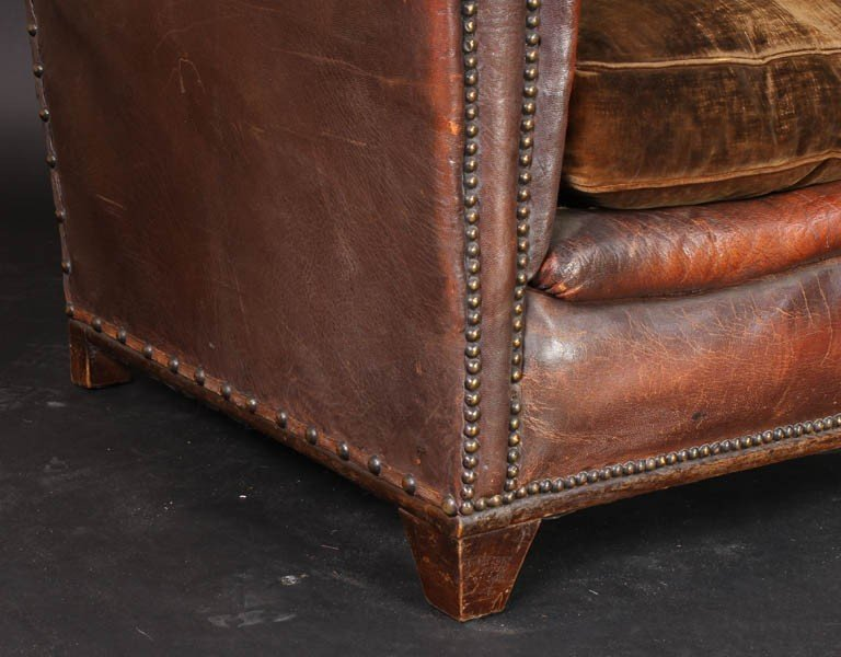 108: PAIR VINTAGE FRENCH LEATHER CLUB CHAIRS - 6