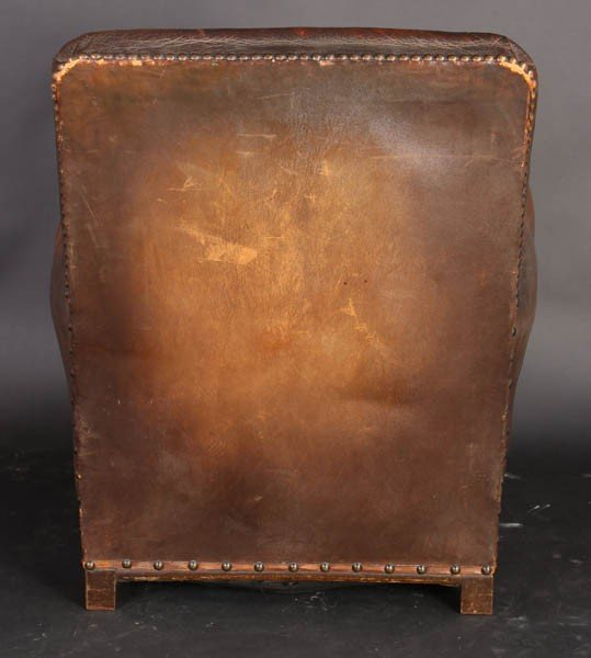 108: PAIR VINTAGE FRENCH LEATHER CLUB CHAIRS - 7