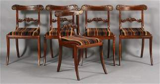 319 SET 5 REGENCY ROSEWOOD DINING CHAIRS BRASS INLAY