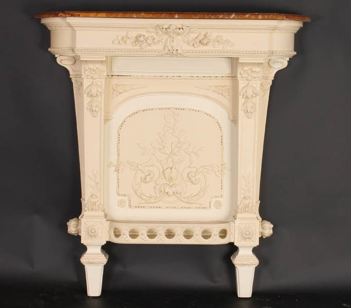 447: FRENCH CARVED WALL MOUNTED CONSOLE TABLE MARBLE