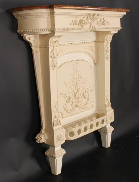 447: FRENCH CARVED WALL MOUNTED CONSOLE TABLE MARBLE - 2