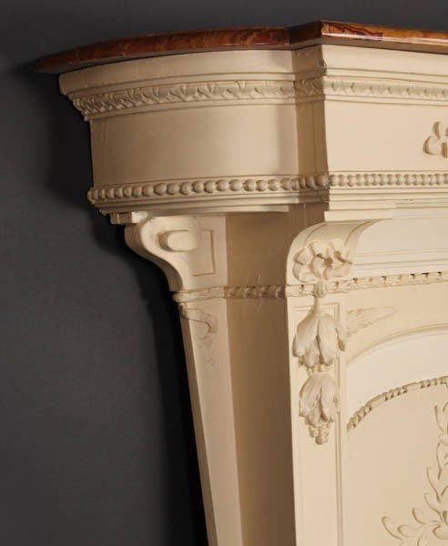 447: FRENCH CARVED WALL MOUNTED CONSOLE TABLE MARBLE - 3