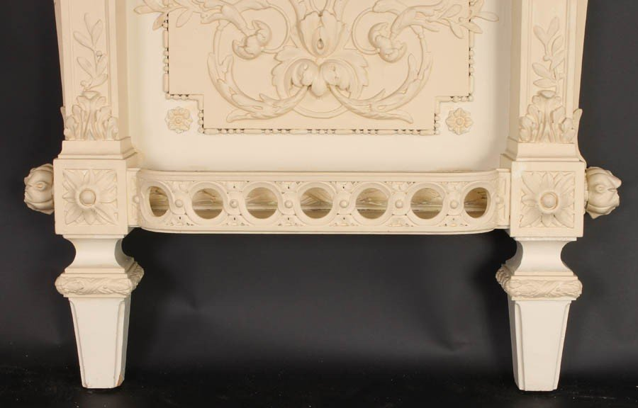 447: FRENCH CARVED WALL MOUNTED CONSOLE TABLE MARBLE - 7