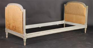 448 LOUIS XVI STYLE CARVED PAINTED DAYBED UPHOLSTERED
