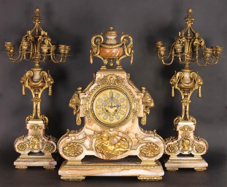 590: MAGINIFICENT MARBLE BRONZE CLOCK GARNITURE SET