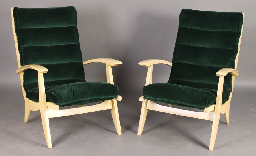 7A: PR MID CENT MOD FRENCH BLEACHED WOOD CHAIRS