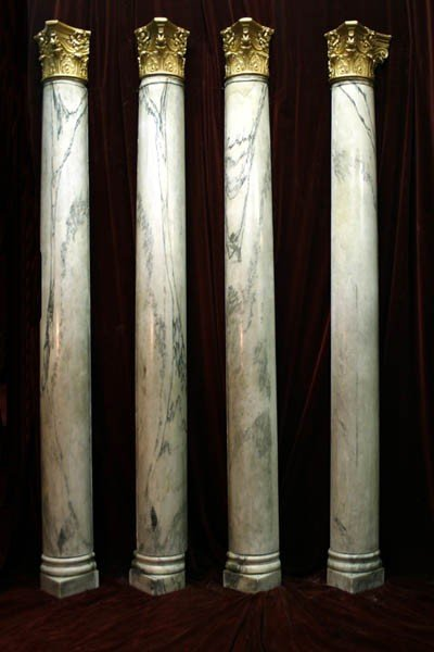 2: 4 PC LOT: SET 4 ANTIQUE MARBLE HALF COLUMNS
