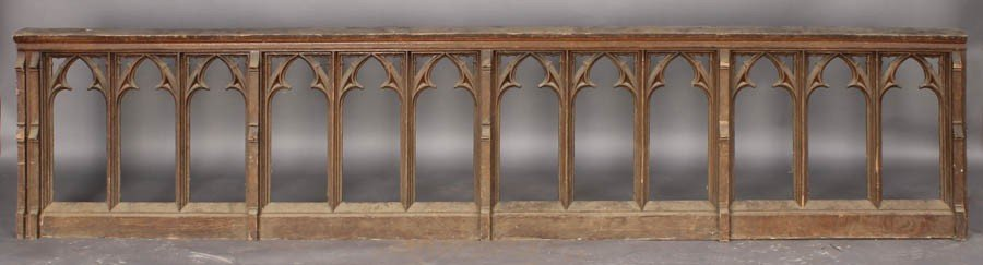 5: ANTIQUE CARVED OAK GOTHIC RAILING