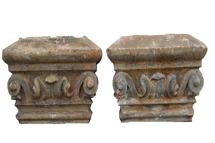 8: PAIR CARVED STONE CAPITOLS