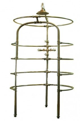 9: RARE ANTIQUE NICKEL ON BRASS RIB CAGE SHOWER