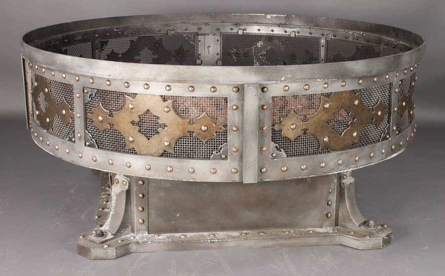 10: MONUMENTAL GOTHIC STYLE STEEL MESH FIRE PIT