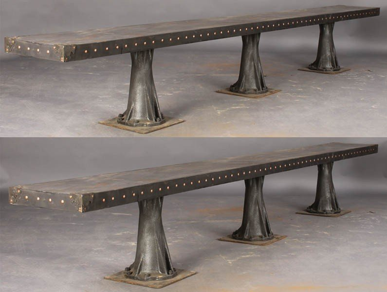 13: PAIR GOTHIC LONG METAL BENCHES INDUSTRIAL