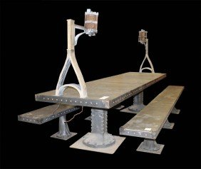 GOTHIC METAL DINING TABLE 2 MATCHING BENCHES
