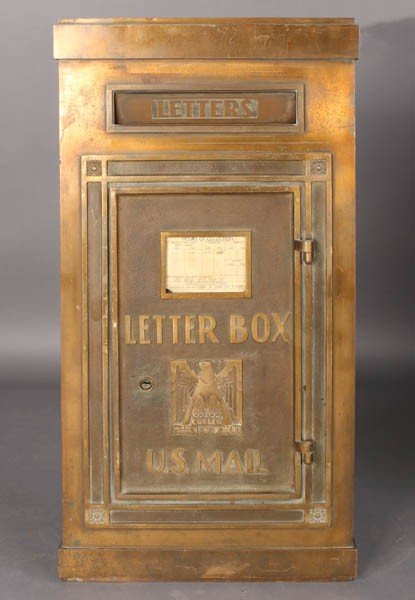 18: ART DECO BRASS CUTLER LETTER BOX EAGLE C. 1930
