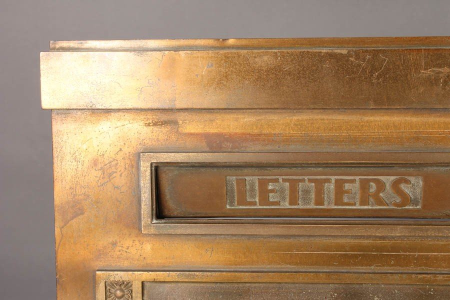 18: ART DECO BRASS CUTLER LETTER BOX EAGLE C. 1930 - 3