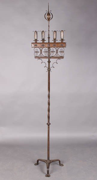 19: SIGNED WROUGHT IRON STANDING CANDELABRA 4 CANDLE