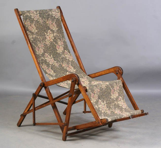 20: ANTIQUE WOOD ADJUSTABLE RECLINING CHAIR