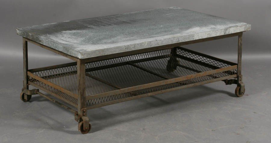56: INDUSTRIAL METAL COFFEE TABLE ZINC TOP