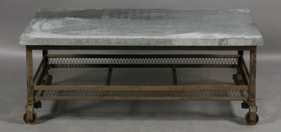 56: INDUSTRIAL METAL COFFEE TABLE ZINC TOP - 2