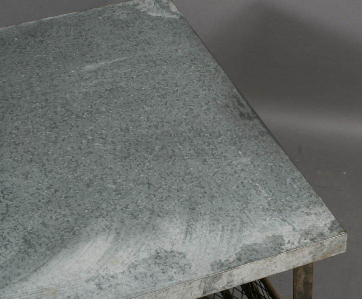 56: INDUSTRIAL METAL COFFEE TABLE ZINC TOP - 4