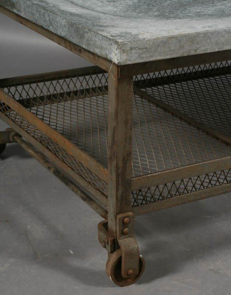 56: INDUSTRIAL METAL COFFEE TABLE ZINC TOP - 5