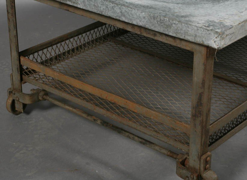 56: INDUSTRIAL METAL COFFEE TABLE ZINC TOP - 6