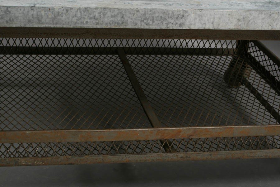 56: INDUSTRIAL METAL COFFEE TABLE ZINC TOP - 7