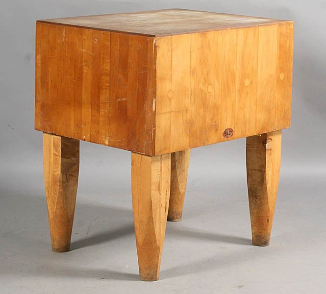61 Vintage Labeled Bally Butcher Block Table