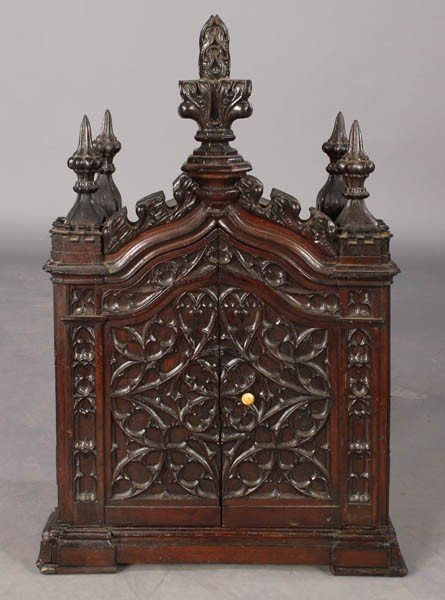 350: WALNUT GOTHIC REVIVAL CARVED WRITERS BOX