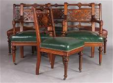 352 ANTIQUE VICTORIAN SIX DINING CHAIRS WALNUT