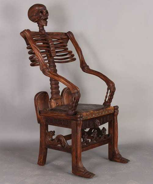 484 carved pine skeleton chair leather seat