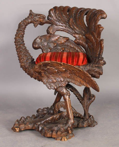 485: ANTIQUE VICTORIAN CARVED PHOENIX FANTASY CHAIR