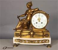 638: FRENCH BRONZE FIGURAL SHELF CLOCK MARSEILLE