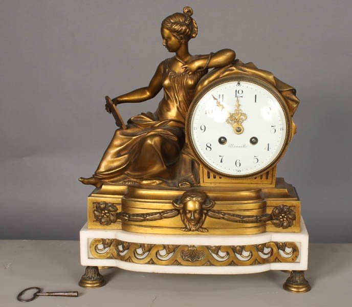 638: FRENCH BRONZE FIGURAL SHELF CLOCK MARSEILLE