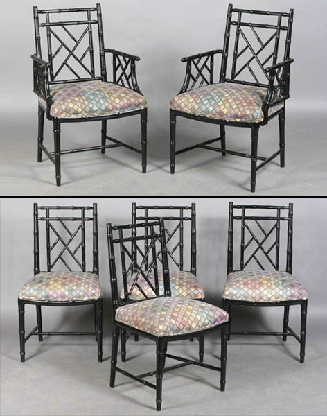 3: 6 FAUX BAMBOO CHINESE CHIPPENDALE DINING CHAIRS