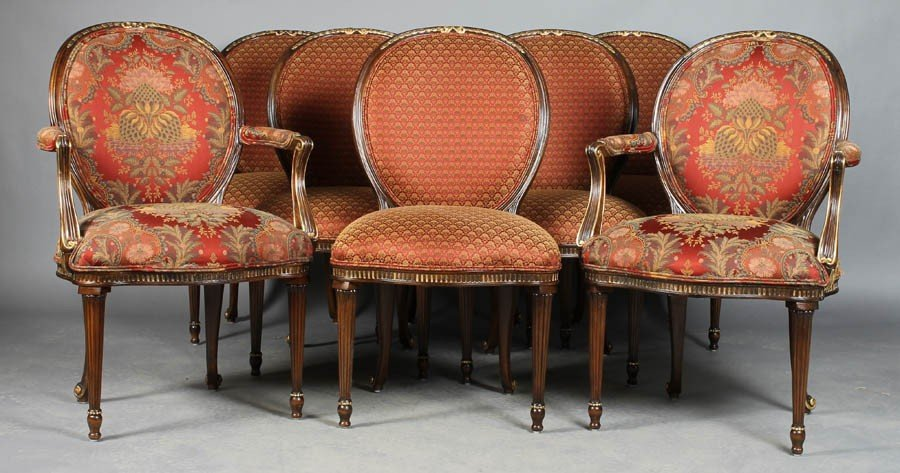 6: SET 8 LOUIS XVI DINING CHAIRS LABELED EJ VICTOR